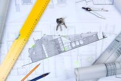 De plannen van Constructino Stock Afbeeldingen