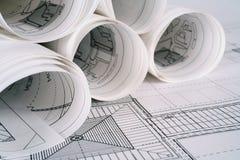 De plannen van de architect Stock Afbeelding