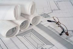 De plannen van de architect Royalty-vrije Stock Foto's