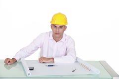 De plannen van de architectentekening Stock Foto