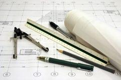 De Plannen van de architectuur Royalty-vrije Stock Afbeeldingen