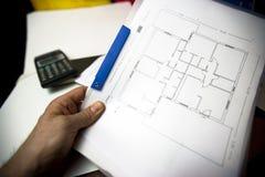De plannen van de architectuur, blauwdrukken stock foto