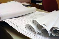 De Plannen van de Bouw van de Blauwdruk Royalty-vrije Stock Foto