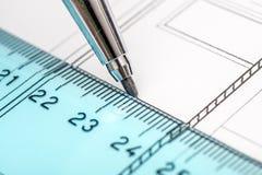 De Plannen van de Tekening van de architect Stock Foto's