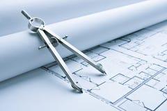 De Plannen van de Vloer van de Blauwdruk met het Kompas van de Tekening Royalty-vrije Stock Foto
