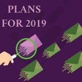 De Plannen van de handschrifttekst voor 2019 Concept die een bedoeling of een besluit betekenen over wat men Vergrootglas gaat do vector illustratie