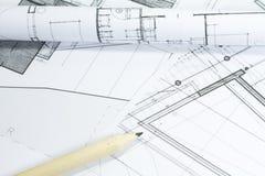 De plannen van het project stock afbeeldingen
