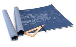 De planning van de architectuur van binnenland ontwerpt op papier Stock Afbeeldingen