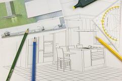 De planning van de keuken stock foto's