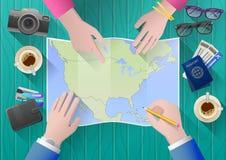 De planning van een reis aan Noord-Amerika royalty-vrije stock afbeeldingen