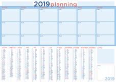 De planning van 2019 met engelstalige kalender en dagelijks programma, stock illustratie