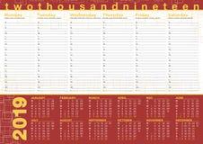 De planning van 2019 met kalender en dagelijks programma, het Engels en othe stock illustratie