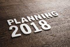 De planning van 2018 op Hout stock afbeelding