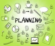 De planning van Pictogrammen vertegenwoordigt Tekendoelstellingen en Aspiraties vector illustratie