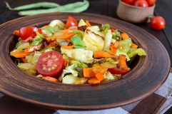 De plantaardige hutspot van kool, slabonen, wortelen, tomaten, uien, paprika's in een klei werpt Royalty-vrije Stock Fotografie