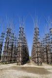 De Plantaardige Kathedraal in Lodi, Italië, omhoog tot gemaakt 108 houten kolommen waaronder een eiken boom is geplant stock foto's