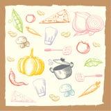 De plantaardige reeks van de voedseltekening Stock Afbeeldingen