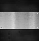 De plaque métallique avec des rivets au-dessus de grille Image stock
