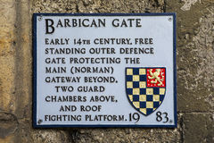 De Plaque van de barbacanepoort in Lewes Stock Fotografie