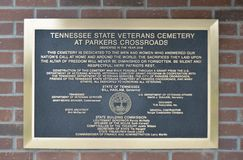 De Plaque van de veteranenbegraafplaats in Parker Crossroads Royalty-vrije Stock Foto's