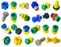 De plastic details van het stuk speelgoed - bouten, noten, toestellen royalty-vrije stock foto's