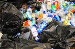 De Plastic flessen van het huisvuil Stock Foto's