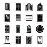 De plastic geplaatste pictogrammen van venstervormen, eenvoudige stijl Royalty-vrije Stock Fotografie