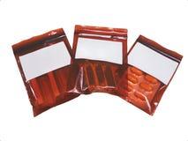 De plastic ritssluiting van inhaleertoestel, injectie en tabletgeneesmiddelen isoleert Royalty-vrije Stock Foto's