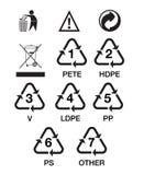 De plastic symbolen van het HUISDIER Royalty-vrije Stock Afbeeldingen