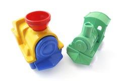 De plastic Treinen van het Stuk speelgoed Stock Foto's