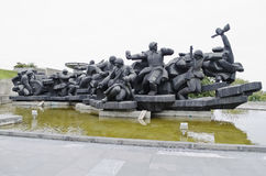De plastische groep 'kruising Dnieper' in Kiev Stock Foto