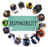 De Plichtsrollen Job Concept van de verantwoordelijkheidsverplichting Stock Fotografie