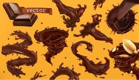 De plons van de chocolade 3d vectorpictogramreeks vector illustratie