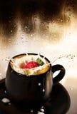 De plons van de aardbei in melk. Stock Foto's
