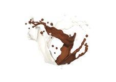 De plons van de chocolade en van de melk Stock Fotografie