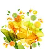 De plons van de sinaasappel, van de citroen en van het citroensap Stock Afbeeldingen
