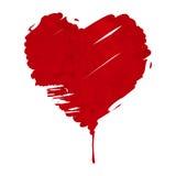 De plons van hart vormde rode die verf op wit wordt geïsoleerd Stock Afbeelding