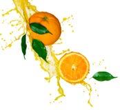 De plons van het jus d'orange stock foto's