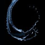 De plons van het water die op zwarte wordt geïsoleerdl Royalty-vrije Stock Afbeeldingen