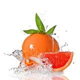 De plons van het water op grapefruit met munt Stock Fotografie
