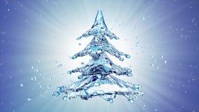 De plonsboom van het Kerstmiswater op blauwe achtergrond Stock Fotografie