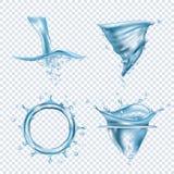 De plonsen van het water De regen laat vallen vloeibare vloeistoffenobjecten transparante de draaikolk vector realistische beelde vector illustratie