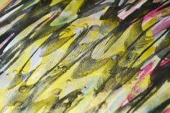 De plonsenverf van de verf donkerblauwe gele gouden was De abstracte achtergrond van de waterverfverf Stock Fotografie
