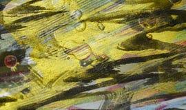De plonsenverf van de verf donkerblauwe gouden was De abstracte achtergrond van de waterverfverf Stock Fotografie