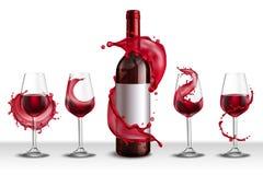 De Plonsreeks van wijnglazen vector illustratie