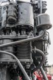 De plus grands détails sur la vieille locomotive à vapeur Pièces lourdes de fer Locomotive dans les pièces Plan rapproché photo libre de droits