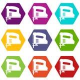De pneumatische vastgestelde kleur van het kanonpictogram hexahedron Royalty-vrije Stock Fotografie