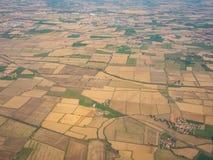 De Po Vallei van het vliegtuigvenster tijdens het landen van het vliegtuig royalty-vrije stock foto