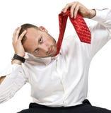 De poging van de zelfmoord in frustratie Stock Fotografie