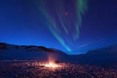 De polaire noordpool Noordelijke ster van de borealishemel van de lichtendageraad snowscooter in Noorwegen Svalbard in Longyearby stock fotografie